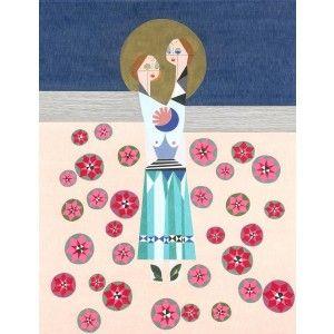 Venus & Mars artwork - lisa lapointe original art print - available to buy online at Everything Begins    #fineartprint #pencildrawing #art #artprint #artwork #artforsale #buyartonline #blue  #ladies #women #folkart #red #pink  #pink #love  #hug #artforinteriors #wallart #walldecor #gicleeprint #limitededition