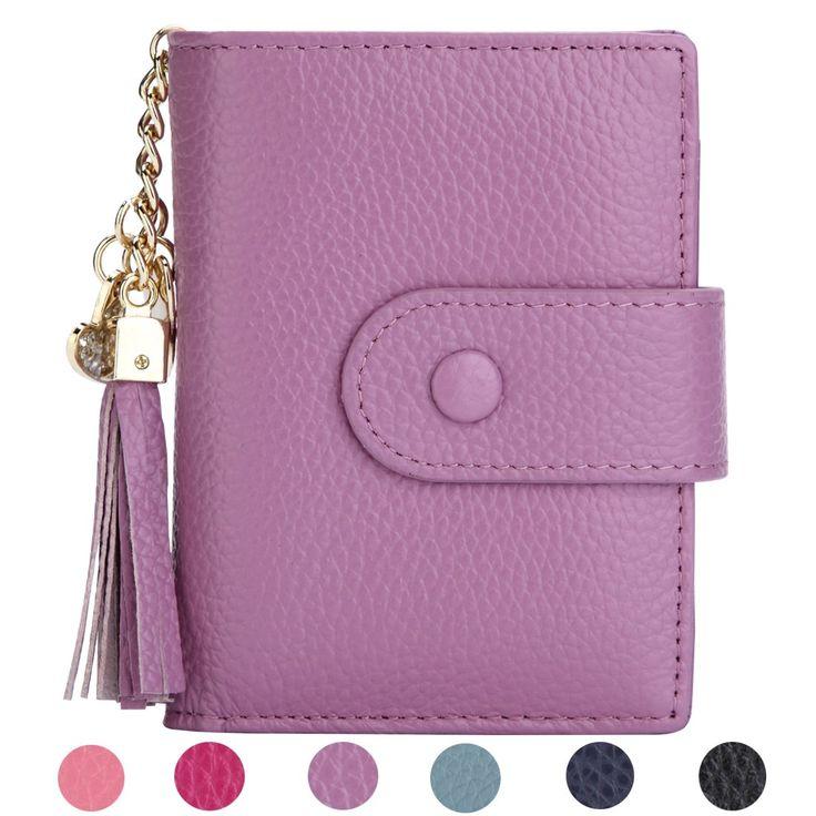 Women's Mini Credit Card Case Wallet with ID Window and Zipper Holder purse ID Wallet (Purple)