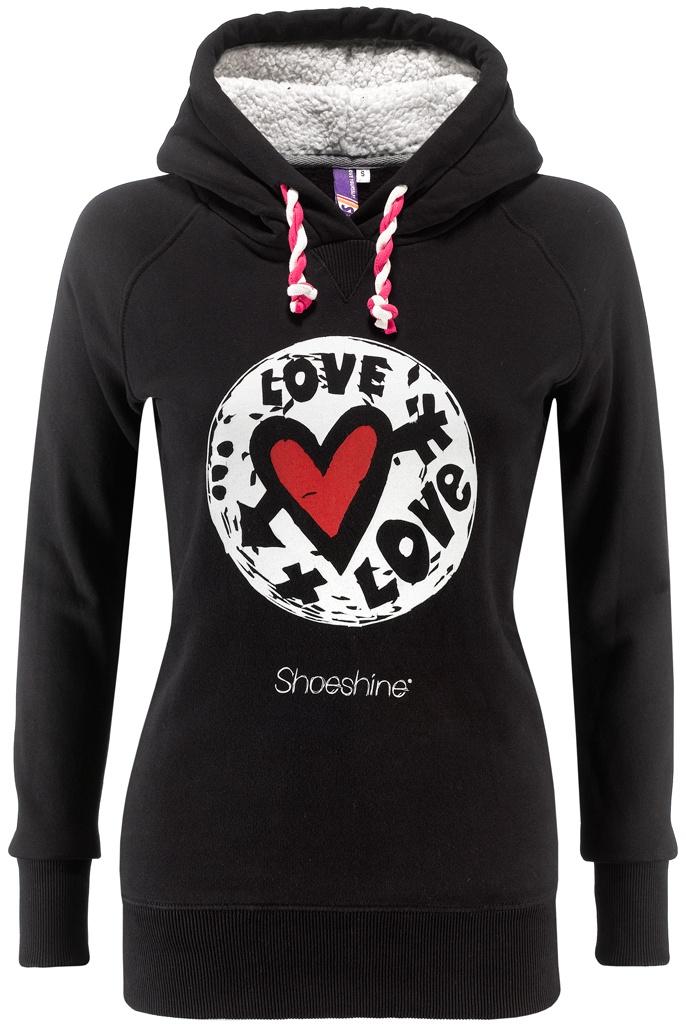 Felpa donna Shoeshine Love 100% cotone con cappuccio. Interno cappuccio in orsetto, stampa ad acqua e tiranti roll multicolor.    Prezzo: 59,00€    SHOP ONLINE: http://www.aw-lab.com/shop/marche/shoeshine/felpa-shoeshine-new-9196087