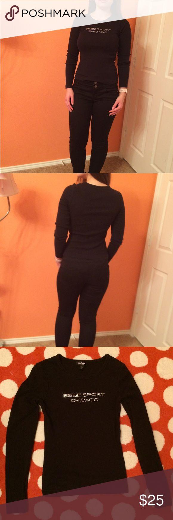 """Bebe Sport Chicago Black Long Sleeve Top Bebe Sport Chicago Black Long Sleeve Top, size Medium, Made in USA. I'm 5'5"""", 130 lbs bebe sport Tops Tees - Long Sleeve"""