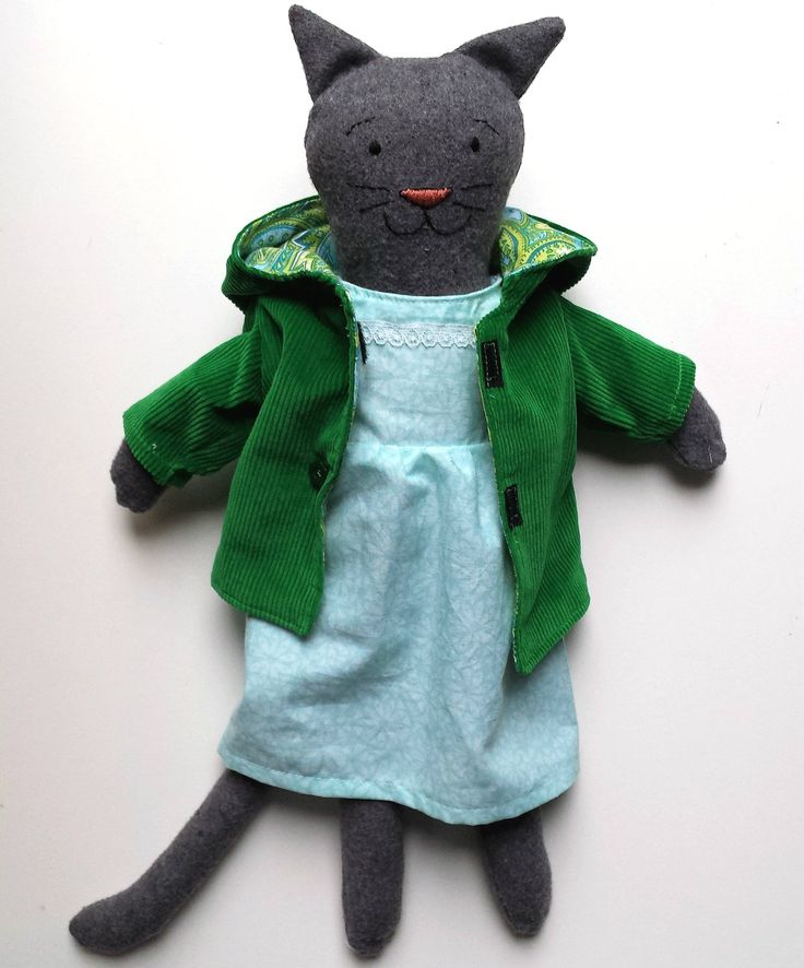 Cat Doll, Rag Doll Cat in Dress Up Clothes, Heirloom Cat Doll named Charlie by SaskiasStudio on Etsy