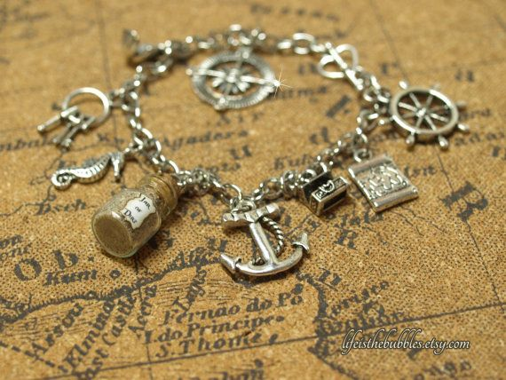 Pirates of the Caribbean Charm Bracelet Disney by LifeistheBubbles, $20.00