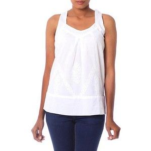 NOVICA Sleeveless Chikankari Embroidered Top