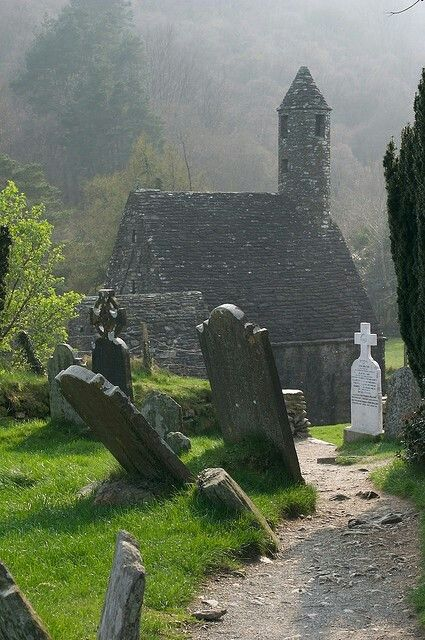 St. Kevin's church ruin in Glendalough, County Wicklow, Ireland.