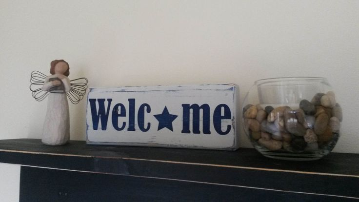 Rustic Americana Decor Distressed Patriotic Welcome Sign Blue by BreakingFreeDesigns on Etsy