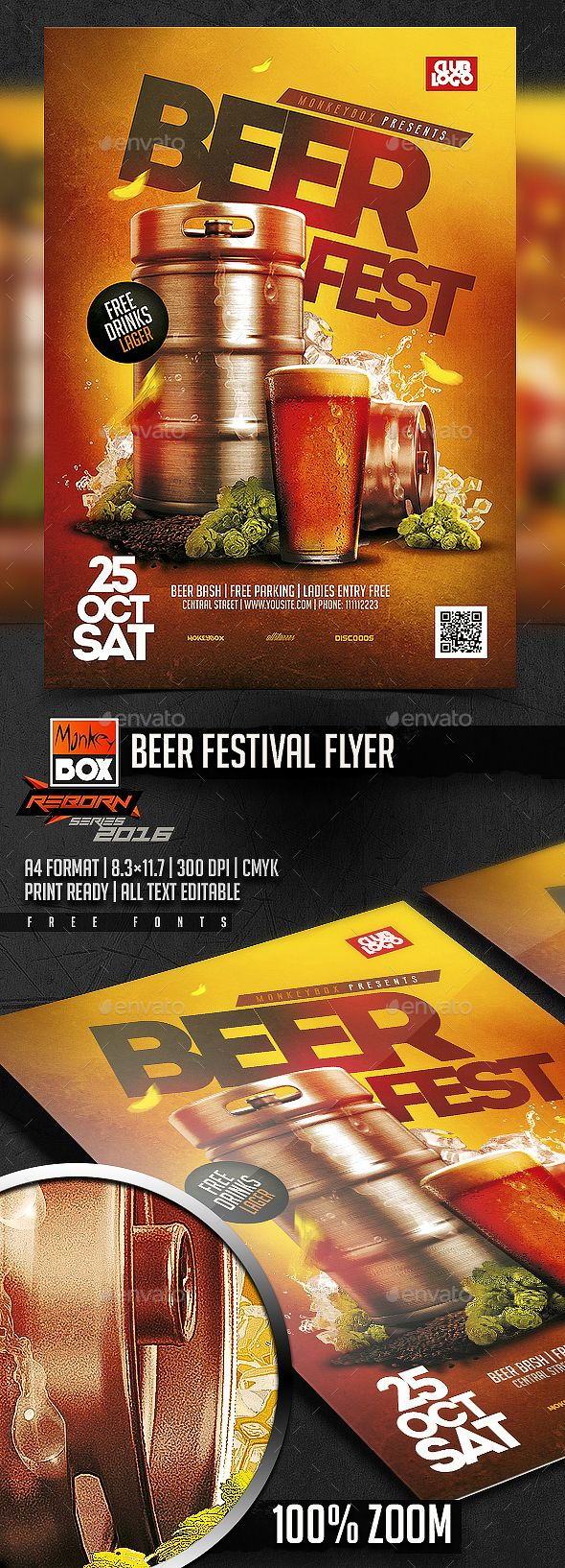Beer Festival Flyer  — PSD Template #brew #oktober • Download ➝ https://graphicriver.net/item/beer-festival-flyer/18410760?ref=pxcr