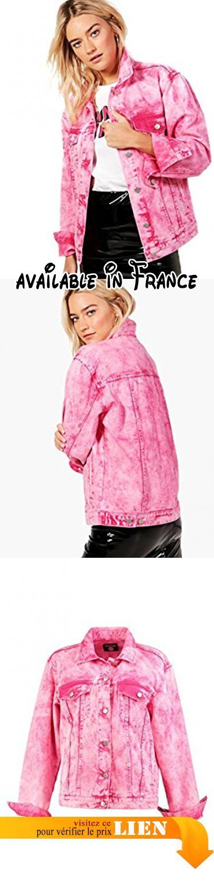 B076DMVX9B : Framboise Femmes Paige Veste En Jean Surdimensionnée Délavée À Lacide Fuchsia - 12. tissu:100% polyester. mesures à plat:non porté:longueur totale 45cm/18. (mesuré à partir d'une taille britannique 10). nettoyer uniquement à l'aide d'un chiffon humide. le modèle porte une taille anglaise 10