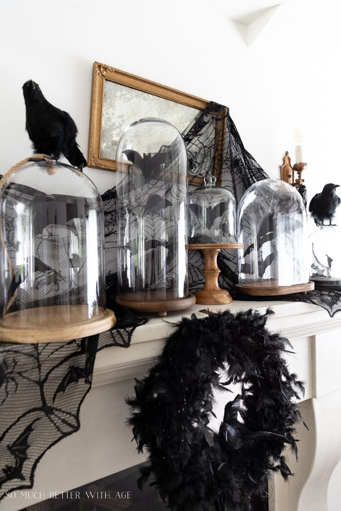 Halloween Mantel Decorating with Bats and Crows Home Sweet Home