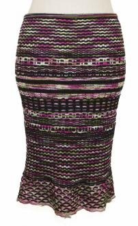 Missoni Pink Multi Color Wool Wavy Striped Knit Trumpet Skirt 6 S