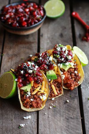 Chipotle Quinoa Sweet Potato Tacos with Roasted Cranberry Pomegranate Salsa - use organic sugar and omit cheese topping