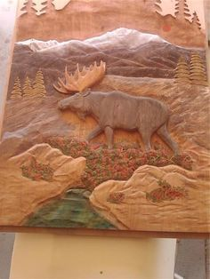 moose door hand carved by Stacey J Mitchell