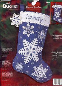 Bucilla Glittering Snowflakes Felt Stocking Kit | eBay