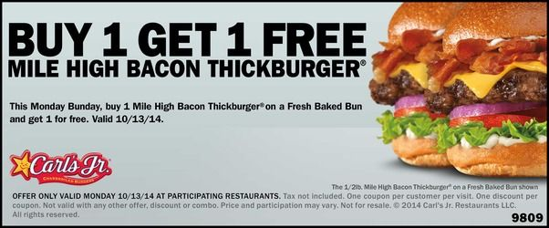 CARL'S JR./HARDEE'S $$ Coupon for BOGO FREE Bacon ThickBurger – TODAY Only (10/13)!