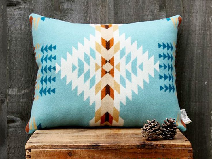 Geometric Wool Pillow // Echo Blue / cream  // by ScoutandWhistle