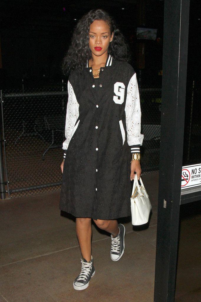 Rihanna rocks a varsity jacket-inspired dress with high-tops & chic lil' tote: Varsity Jackets Inspiration, Rihanna Fashion, Celebs Styles, Rihanna Photo, Rihanna Handbags, Rihanna Rocks, Jackets Trends, Jackets Inspiration Dresses, Varsity Coats