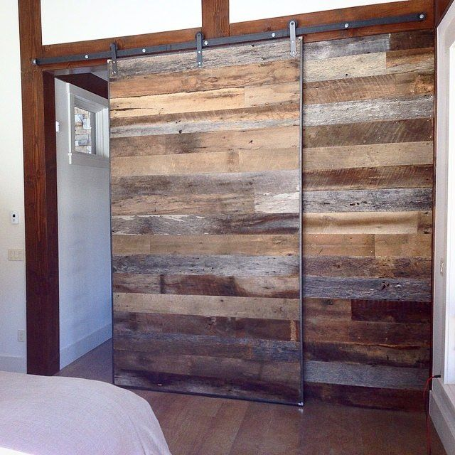 "Beautiful work by @joshtherocketrickett! We love the reclaimed doors with our Modern ""Reflex"" hanger."