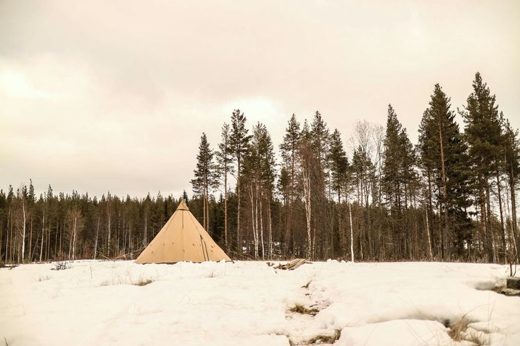 Tentipi saffir 15, our home in Fredrika, Swedish Lapland.