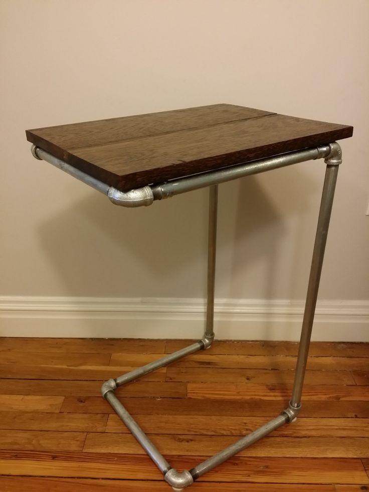 Industrial Pipe Side Table Reclaimed Oak Wood Top