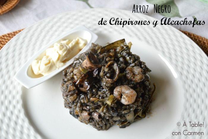 Arroz Negro de Chipirones y Alcachofas