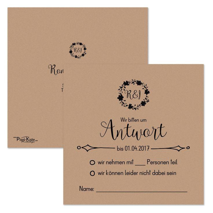 Quadratische Antwortkarten Vintage Style Hochzeit Ab 0,60 Euro Drucken  Lassen #savethedate #
