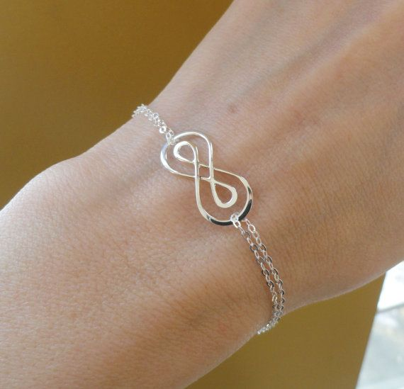 Silver Double Infinity symbol bracelet, figure eight, Silver infinity bracelet, bridesmaid gifts, friendship bracelet, adjustable bracelet