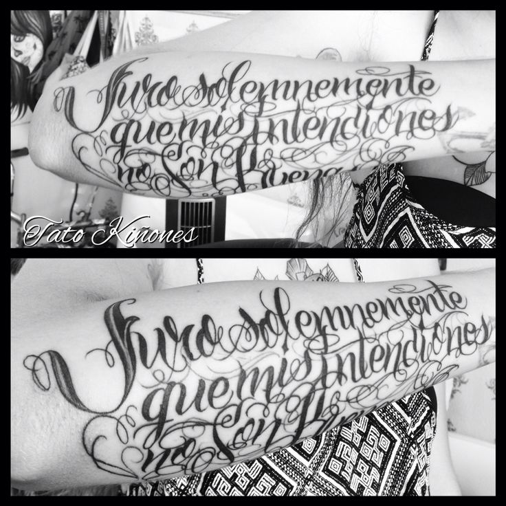 Calligraphy tattoo done by our resident artist Tato Kiñones. Inspired in Harry Potter