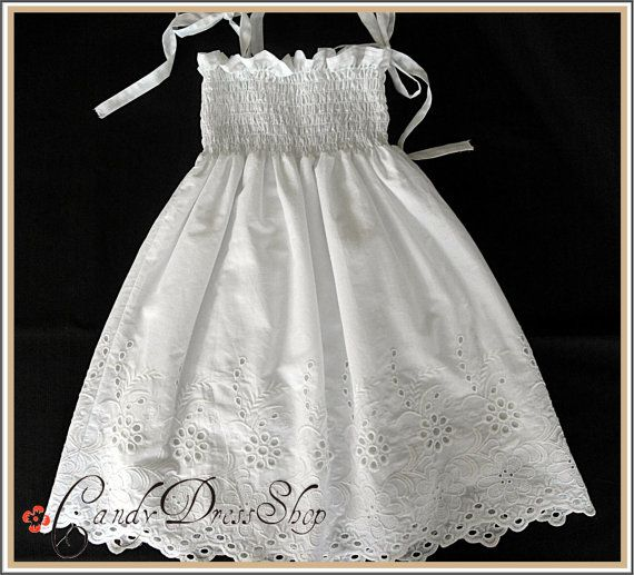 Flower girl dress - Girls Dresses for Summer / Size  3T-4T( Available in sizes 18 month to 5 years) Organic cotton, Super soft white dress.