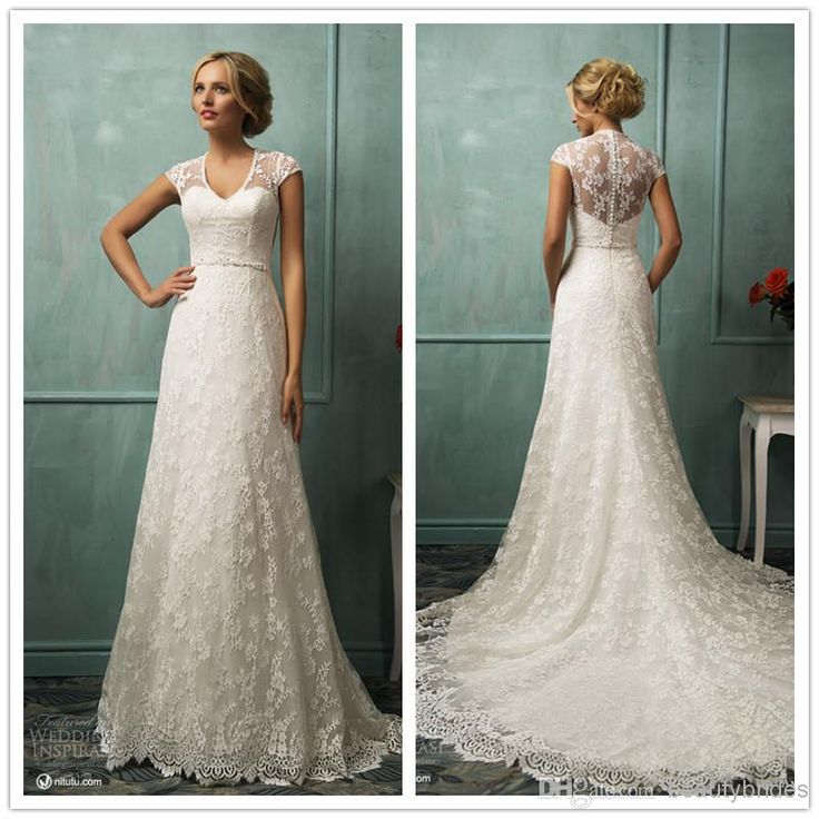 Sheer Neck 2014 Lace A-Line Wedding Dresses V-Neck A-Line Wedding Dresses | Buy Wholesale On Line Direct from China