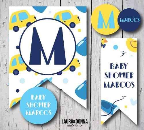 Kit imprimible / Baby Shower / infantiles / Azul Amarillo Celeste / Autitos / Candy bar y decoracion / Banderines / Toppers / Invitaciones / Golosinas / Fiestas temáticas / Diseño para niños / Bebé / Hazlo tu misma / Envios a todo el mundo / Printable kit  / Baby boy / Kids party / Decor / Blue Yellow / Cars / Themed party / Design for kids / DIY / We ship worldwide / lauraydonna@gmail.com / Click on image to buy / Click en la imagen para comprar