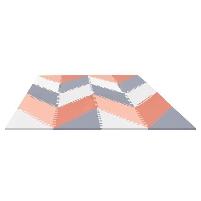 Skip Hop Geo Playspot Foam Floor Tiles - Grey and Peach
