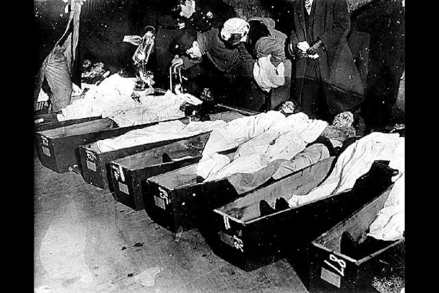 Identifying bodies at the morgue, after the Triangle Shirtwaist Factory Fire.  Horrible thing to do. And according to the article: people visited this out of curiosity! oO