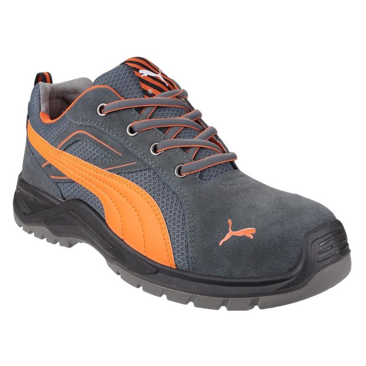 Puma Omni Flash Low Grey and Orange S1P SRC Mens Safety Work Trainers