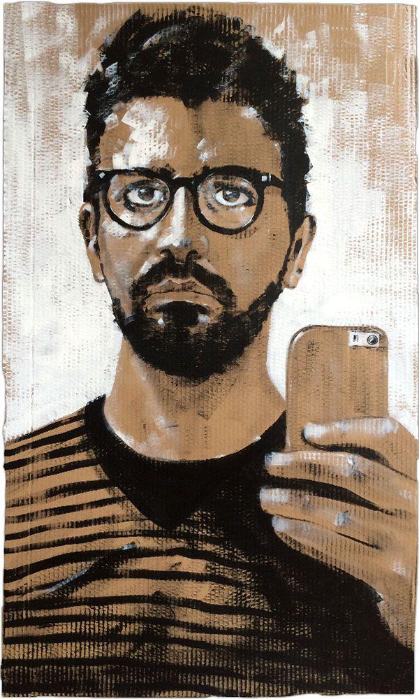 Selfie-portrait, 2015 (acrylic on cardboard - 60 x 100 cms)