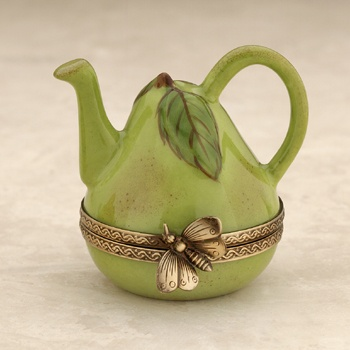 Limoges green pear teapot