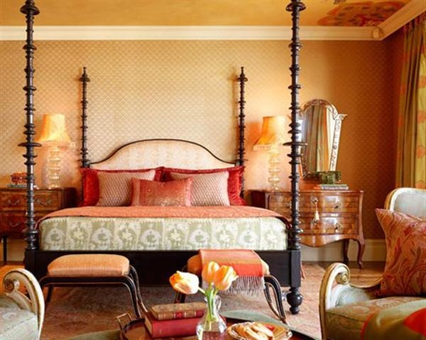 moroccan inspired bedroom.  I'm loving the balance of color here.
