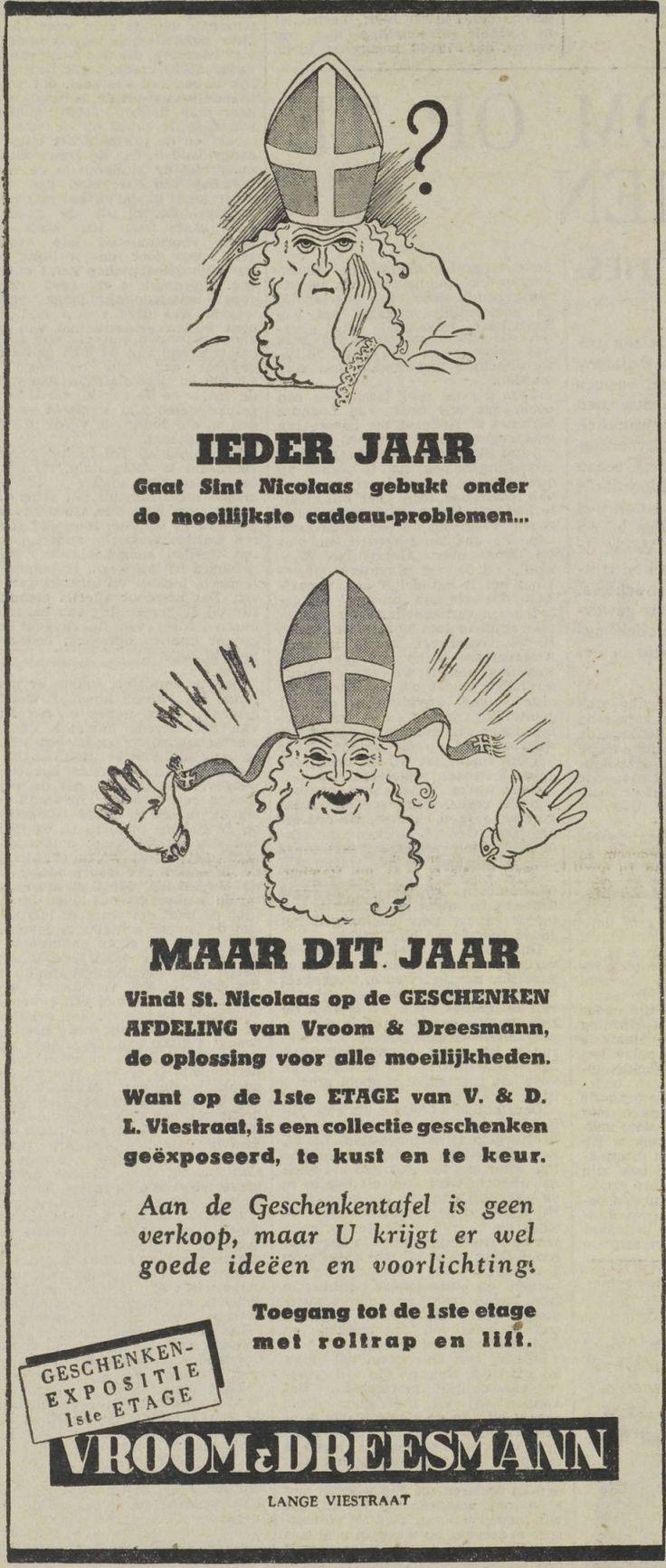 Alle cadeau-problemen van Sint Nicolaas worden opgelost door Vroom & Dreesmann in de Lange Viestraat. UN, 25 november 1950, pagina 10