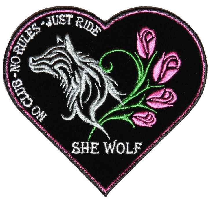 Sexy She Wolf Heart Roses Lady Rider Lady Biker Patch – Quality Biker Patches