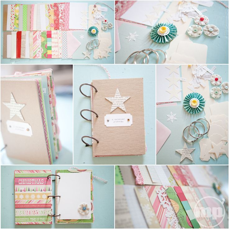 Marcy Penner. Light blue, red & green colors for December Daily Christmas scrapbooking journal.