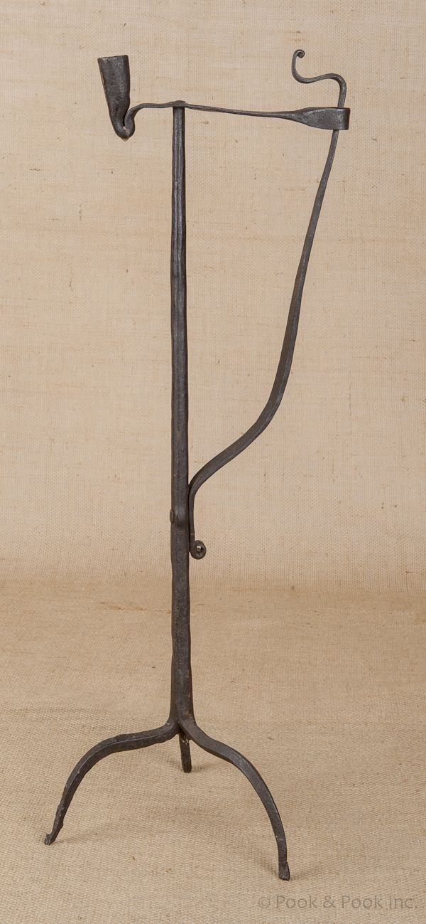 early 18th c wrought iron rush light and candle holder, with tripod base sold for $1007...~♥~