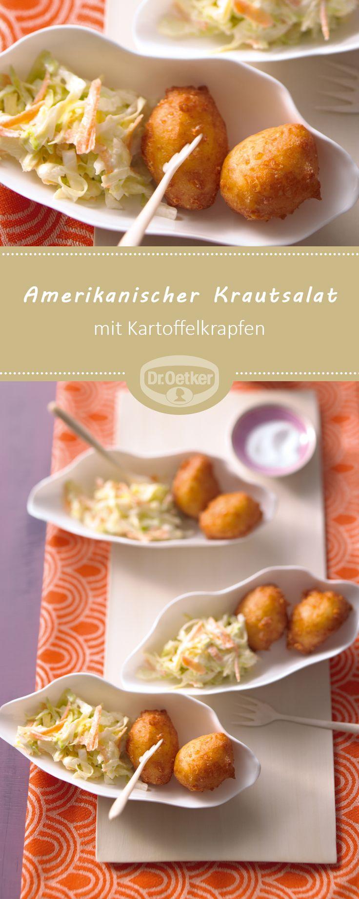 Kartoffelkrapfen mit amerikanischem Krautsalat (Coleslaw): Pikante Kartoffelkrapfen mit Krautsalat aus Spitzkohl als Snack