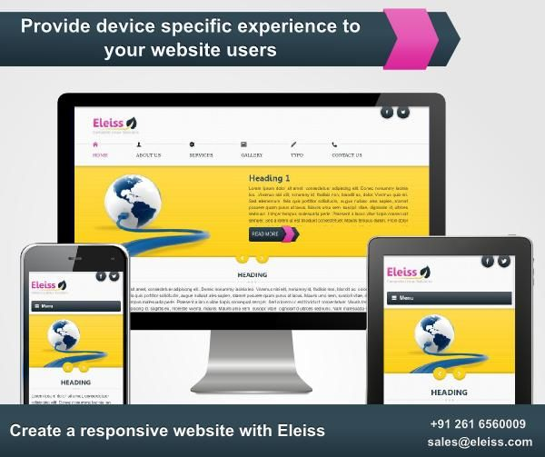 Contact us on +91 261 6510525 or sales@eleiss.com to have a look at our new ‪#‎responsive‬ ‪#‎website‬ range #eleiss template r050