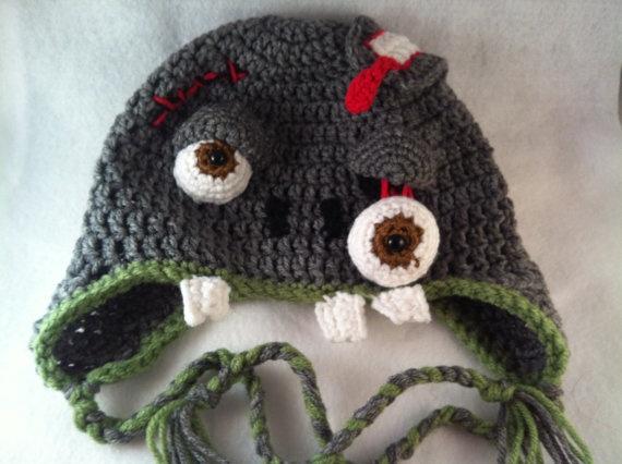Crochet Zombie : Crochet Zombie Earflap Hat - Teen/Adult size. via Etsy.