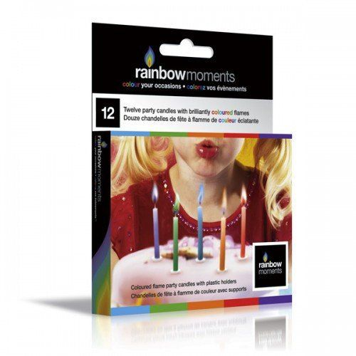 A fun, colorful way to celebrate any special day. Rainbow Moments birthday candles produce vibrant colored flames when lit, are non-toxic, environmentally-friendly, and water-soluble. Candle and flame colors: Red, Orange, Blue, Green and Purple. Non-toxic, water-soluble, bio degradable, and environmentally friendly. Includes plastic holders, approximately 8 minutes of burning time per candle #963304 $4.99 www.lambertpaint.com
