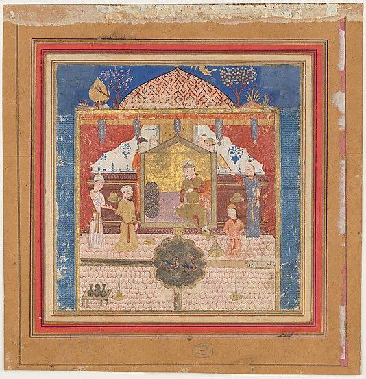 """""""Khusrau Parviz before his Father Hurmuzd (?)"""", Folio from a Shahnama (Book of Kings) Abu'l Qasim Firdausi (935–1020)"""