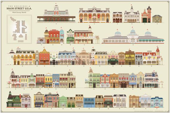 The Buildings of Main Street Walt Disney World Poster by BuchWorks