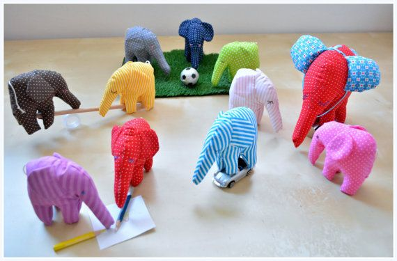 Mini elephants/soft toys/favors by penhands on Etsy