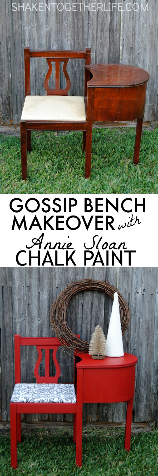 Gorgeous gossip bench makeover with Annie Sloan Chalk Paint - love this sassy red gossip bench!!
