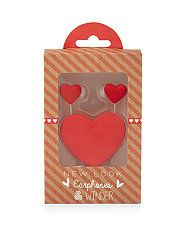 Red (Red) Red Heart Earphones and Winder Set | 299619960 | New Look @New Look