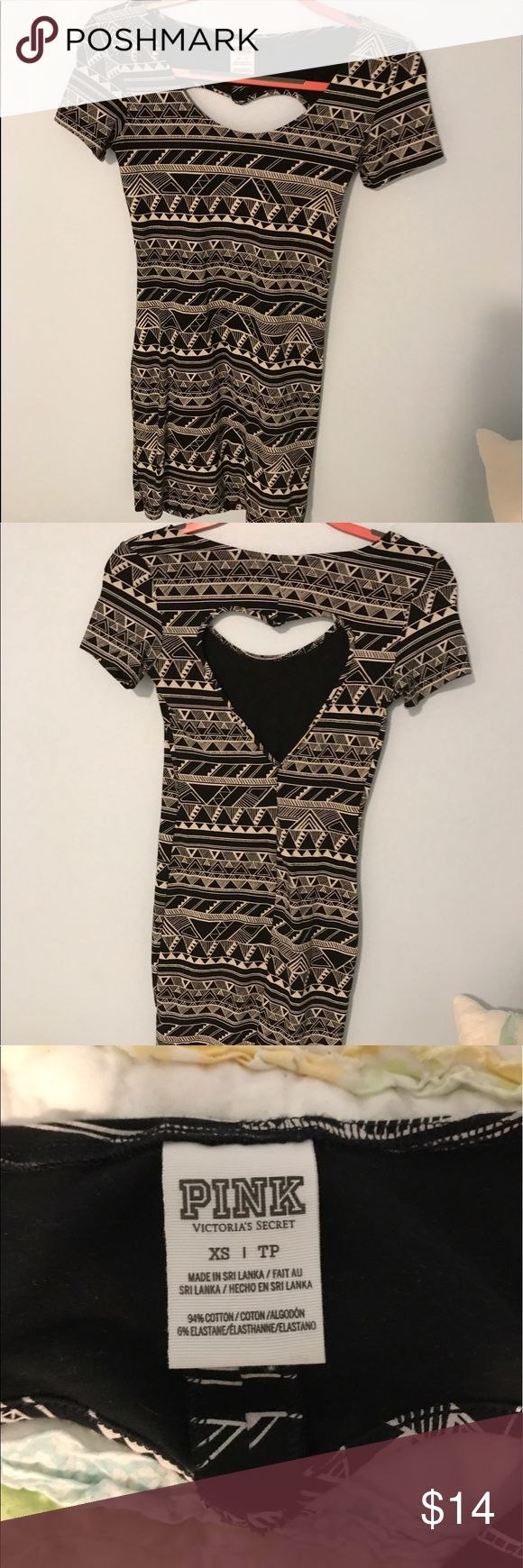 Black and White Aztec Bodycon Dress with cutouts XS dress from VS Pink, show off the super cute heart cutout in the back all summer long or pair with a denim jacket for the spring/fall PINK Dresses Mini
