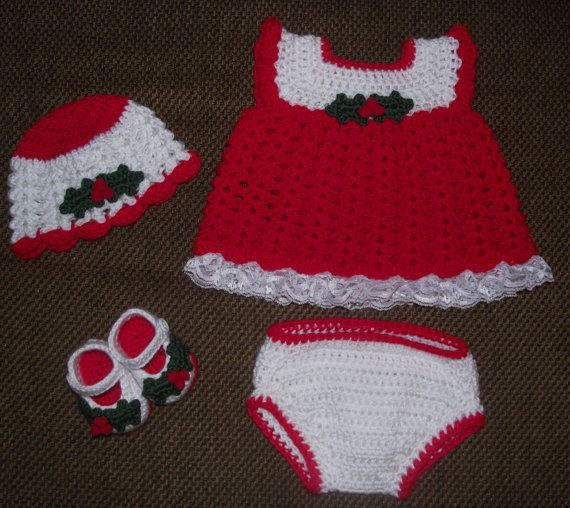 Christmas Crocheted Diaper Dress Set